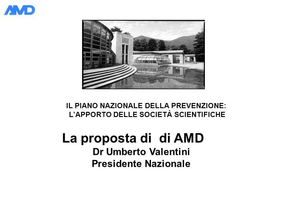 IL PIANO NAZIONALE DELLA PREVENZIONE: LAPPORTO DELLE SOCIETÀ SCIENTIFICHE La proposta di di AMD Dr Umberto Valentini Presidente Nazionale