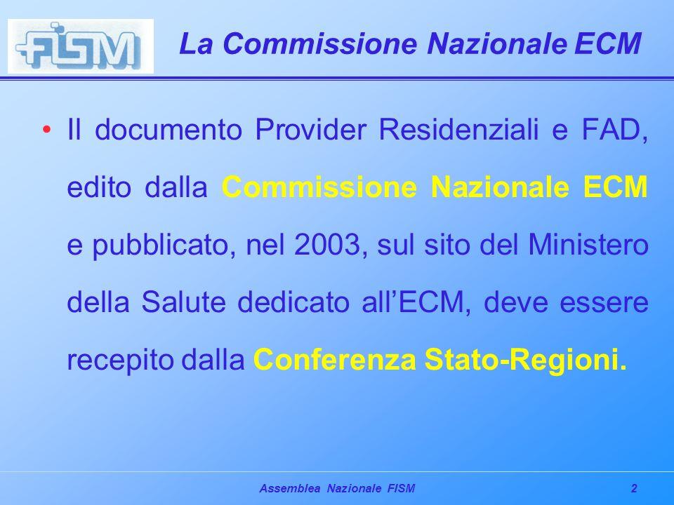 2Assemblea Nazionale FISM La Commissione Nazionale ECM Il documento Provider Residenziali e FAD, edito dalla Commissione Nazionale ECM e pubblicato, nel 2003, sul sito del Ministero della Salute dedicato allECM, deve essere recepito dalla Conferenza Stato-Regioni.