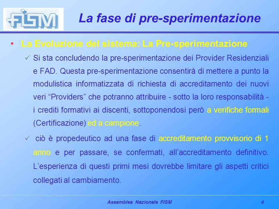 4Assemblea Nazionale FISM La fase di pre-sperimentazione La Evoluzione del sistema: La Pre-sperimentazione Si sta concludendo la pre-sperimentazione dei Provider Residenziali e FAD.