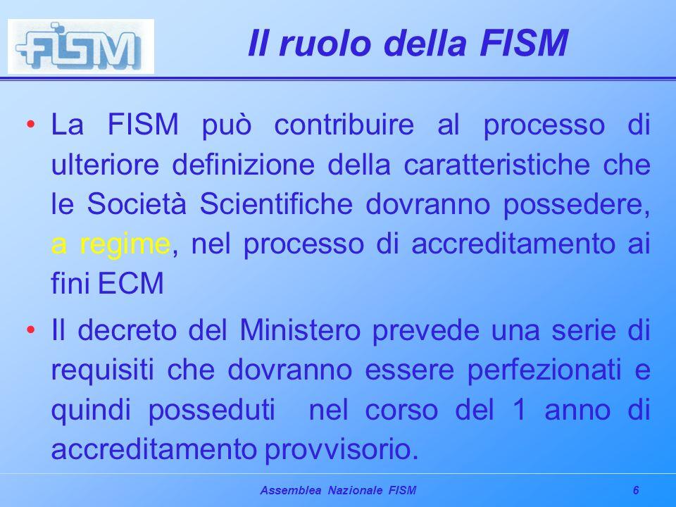 17Assemblea Nazionale FISM Conclusione La definizione delle regole per i Provider che accrediteranno direttamente gli eventi è un momento essenziale per la riuscita del progetto ECM della nostra nazione.