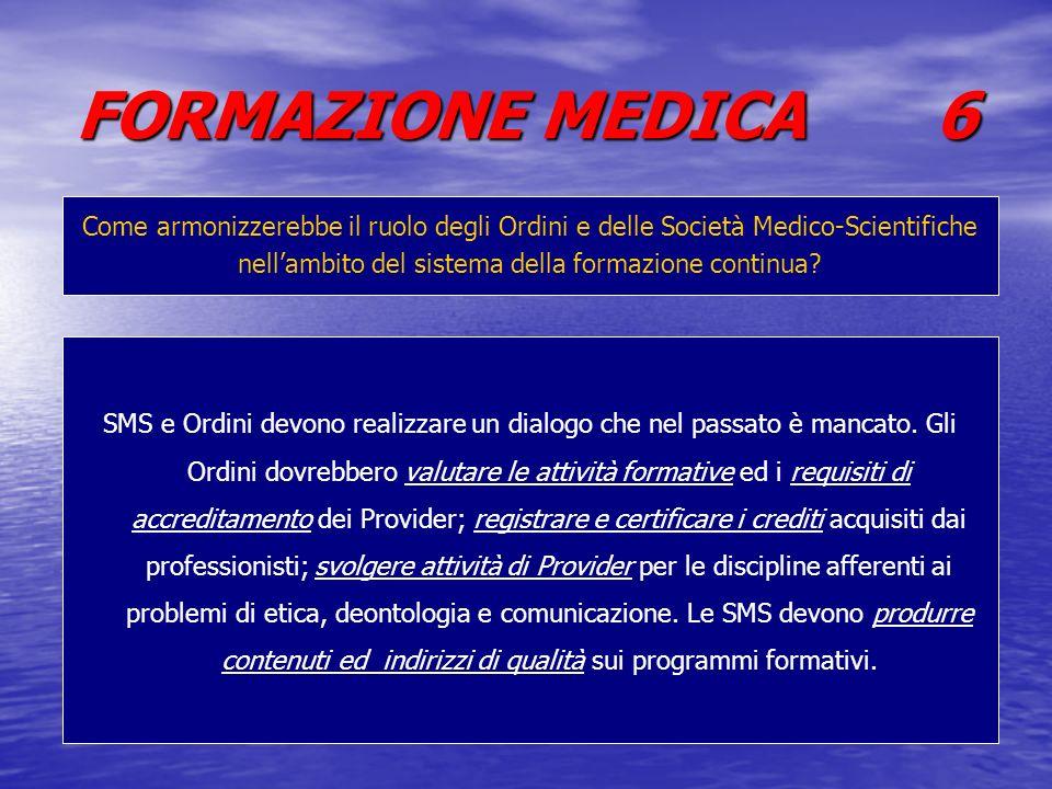 FORMAZIONE MEDICA 6 Come armonizzerebbe il ruolo degli Ordini e delle Società Medico-Scientifiche nellambito del sistema della formazione continua? SM