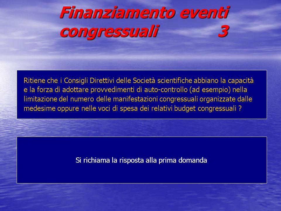 Finanziamento eventi congressuali 3 Si richiama la risposta alla prima domanda Ritiene che i Consigli Direttivi delle Società scientifiche abbiano la