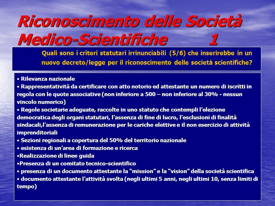 Riconoscimento delle Società Medico-Scientifiche 1 Quali sono i criteri statutari irrinunciabili (5/6) che inserirebbe in un nuovo decreto/legge per il riconoscimento delle società scientifiche.