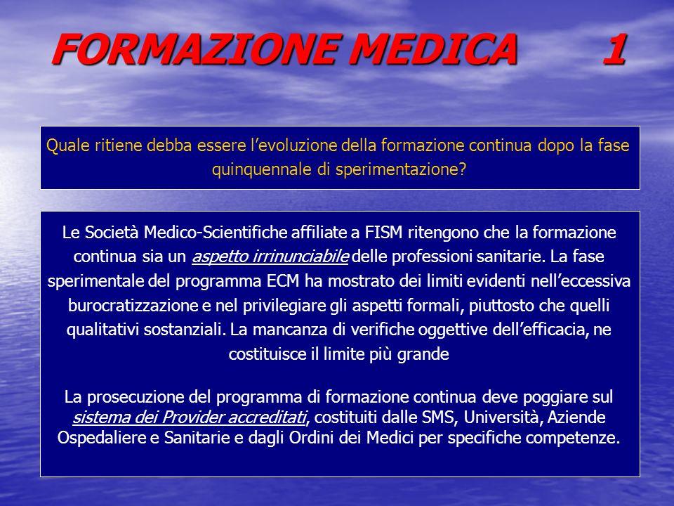 FORMAZIONE MEDICA 1 Quale ritiene debba essere levoluzione della formazione continua dopo la fase quinquennale di sperimentazione? Le Società Medico-S