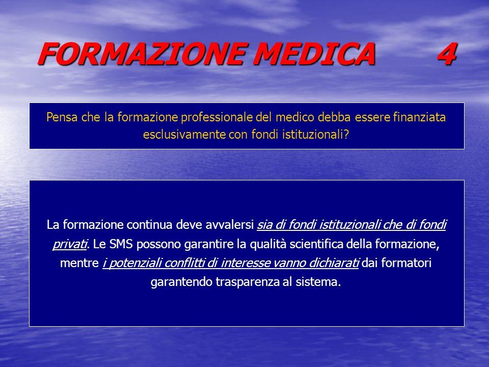 FORMAZIONE MEDICA 4 Pensa che la formazione professionale del medico debba essere finanziata esclusivamente con fondi istituzionali? La formazione con
