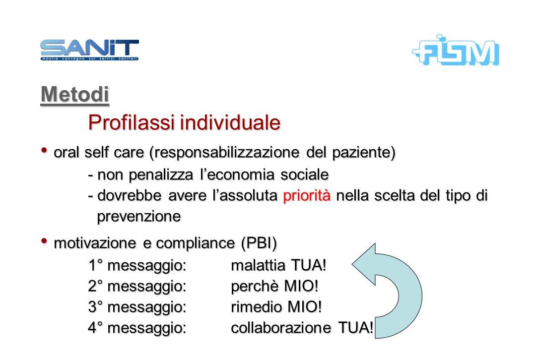 Metodi Profilassi individuale oral self care (responsabilizzazione del paziente) oral self care (responsabilizzazione del paziente) - non penalizza le
