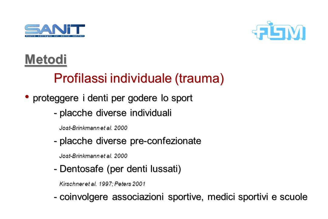 Metodi Profilassi individuale (trauma) proteggere i denti per godere lo sport proteggere i denti per godere lo sport - placche diverse individuali Jos