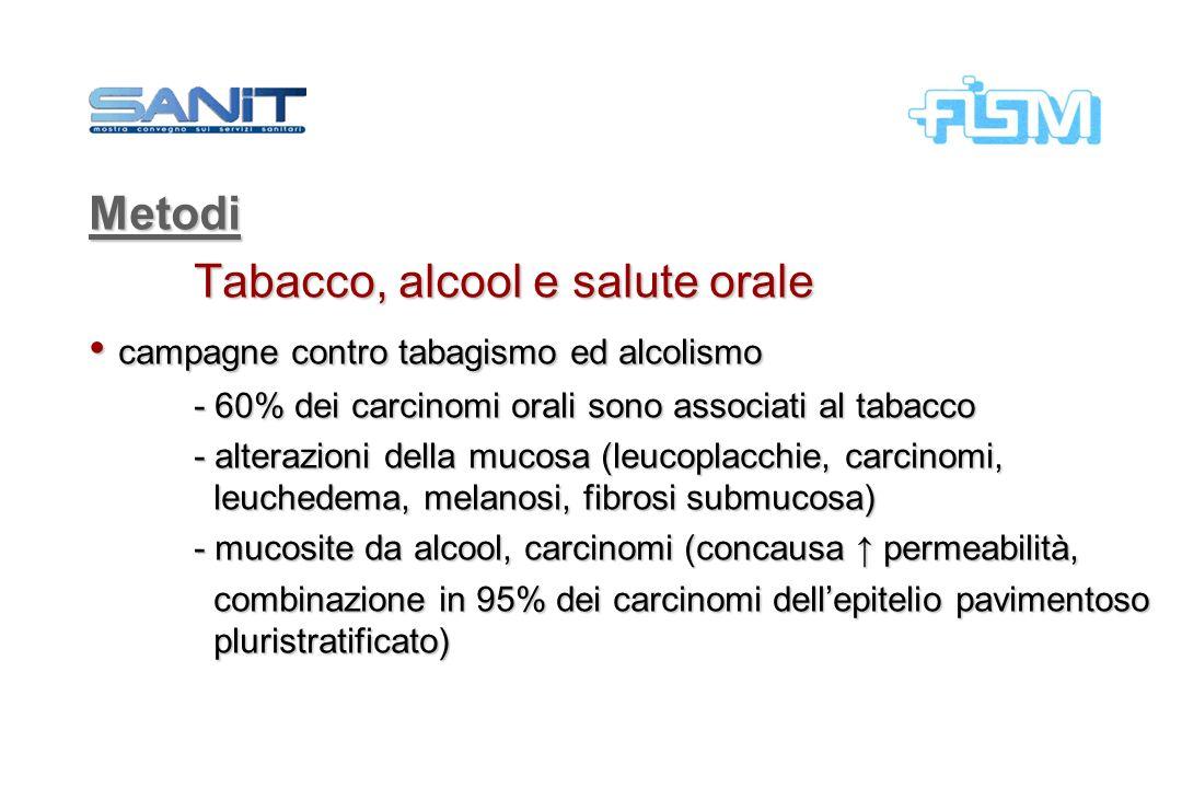 Metodi Tabacco, alcool e salute orale campagne contro tabagismo ed alcolismo campagne contro tabagismo ed alcolismo - 60% dei carcinomi orali sono ass