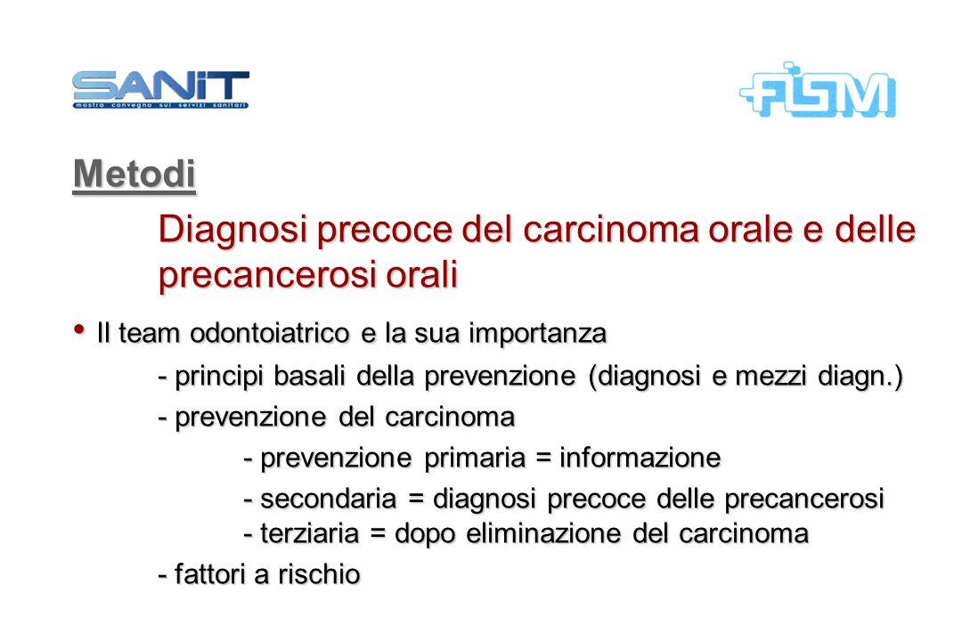 Metodi Diagnosi precoce del carcinoma orale e delle precancerosi orali Il team odontoiatrico e la sua importanza Il team odontoiatrico e la sua import