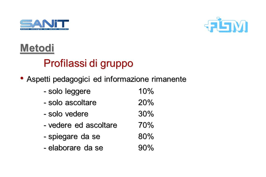Metodi Profilassi di gruppo Aspetti pedagogici ed informazione rimanente Aspetti pedagogici ed informazione rimanente - solo leggere 10% - solo ascolt