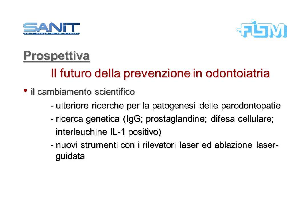 Prospettiva Il futuro della prevenzione in odontoiatria il cambiamento scientifico il cambiamento scientifico - ulteriore ricerche per la patogenesi d