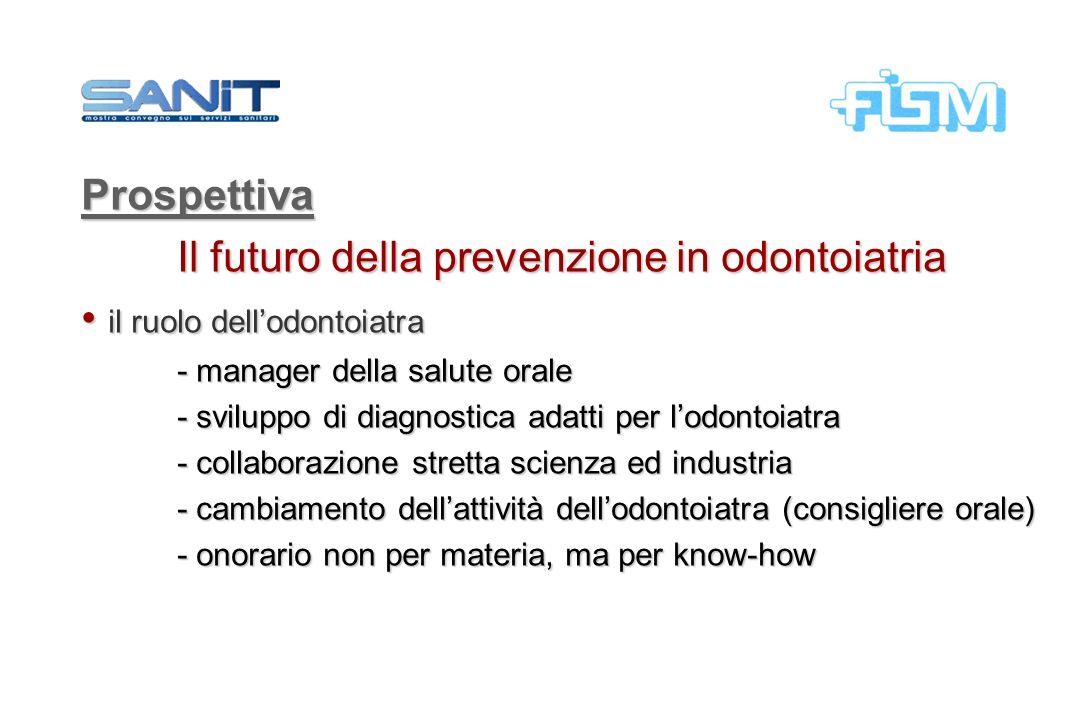 Prospettiva Il futuro della prevenzione in odontoiatria il ruolo dellodontoiatra il ruolo dellodontoiatra - manager della salute orale - sviluppo di d