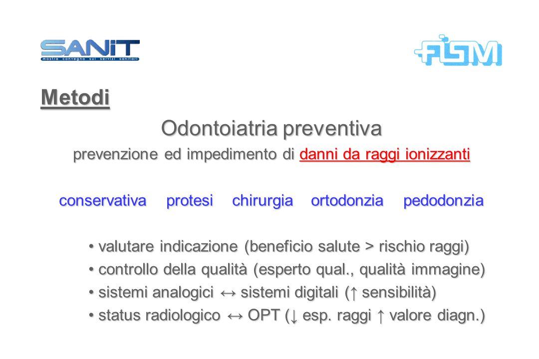 Metodi Odontoiatria preventiva prevenzione ed impedimento di danni da raggi ionizzanti conservativa protesi chirurgia ortodonzia pedodonzia valutare i