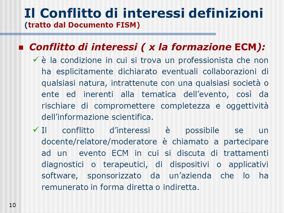 10 Il Conflitto di interessi definizioni (tratto dal Documento FISM) Conflitto di interessi ( x la formazione ECM): è la condizione in cui si trova un