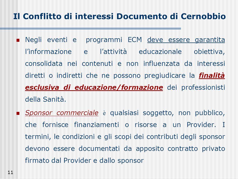 11 Il Conflitto di interessi Documento di Cernobbio Negli eventi e programmi ECM deve essere garantita linformazione e lattività educazionale obiettiv