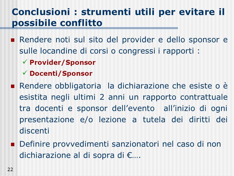 22 Conclusioni : strumenti utili per evitare il possibile conflitto Rendere noti sul sito del provider e dello sponsor e sulle locandine di corsi o co