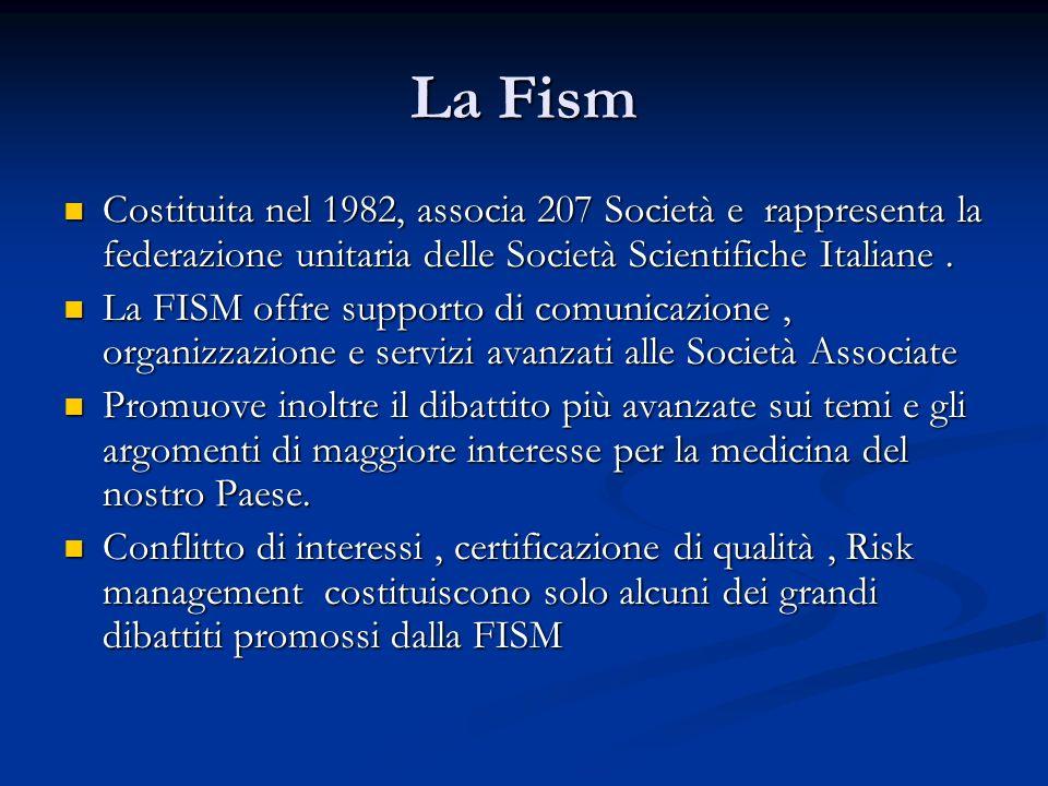 La Fism Costituita nel 1982, associa 207 Società e rappresenta la federazione unitaria delle Società Scientifiche Italiane.