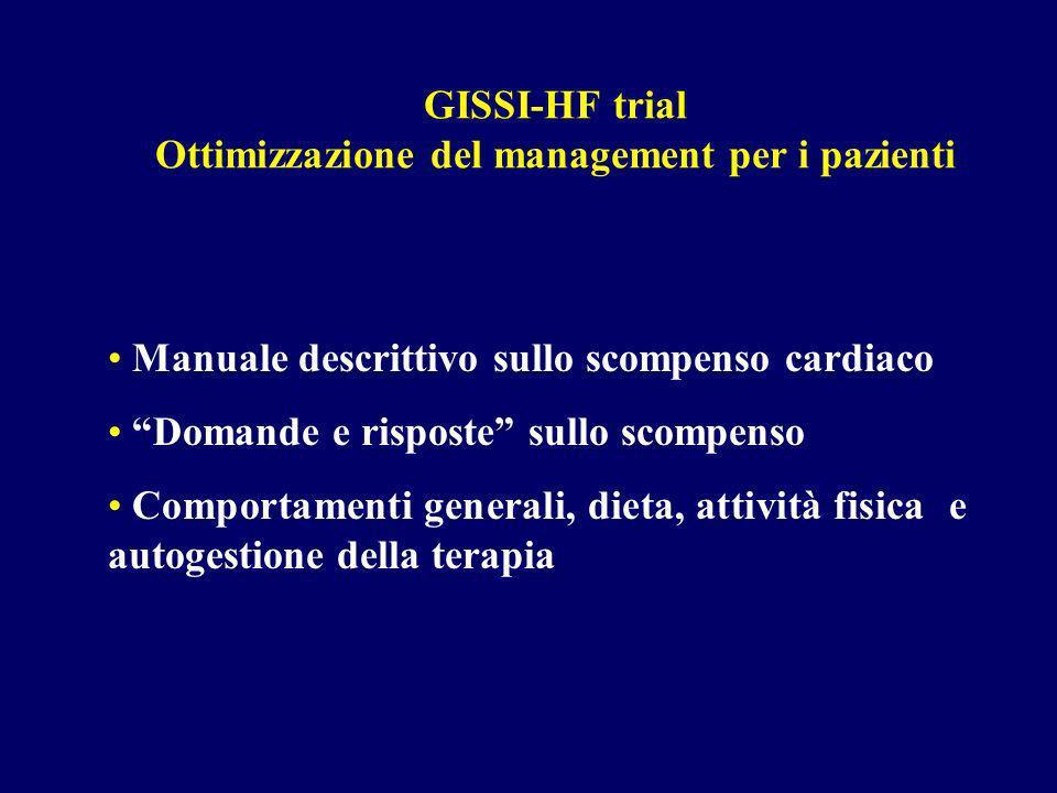 GISSI-HF trial Ottimizzazione del management per i pazienti Manuale descrittivo sullo scompenso cardiaco Domande e risposte sullo scompenso Comportamenti generali, dieta, attività fisica e autogestione della terapia