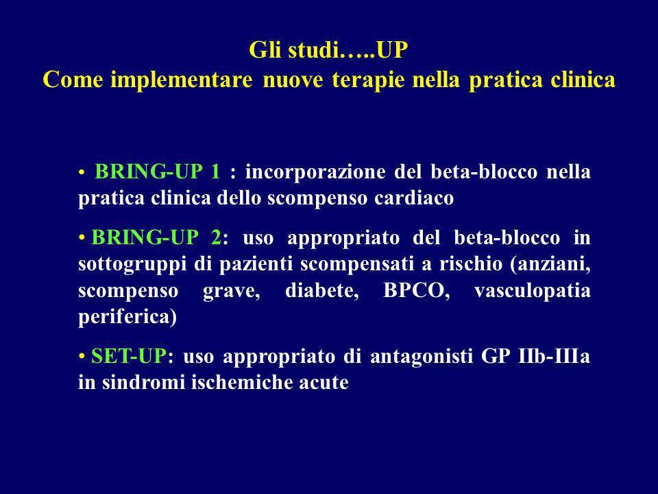 Gli studi…..UP Come implementare nuove terapie nella pratica clinica BRING-UP 1 : incorporazione del beta-blocco nella pratica clinica dello scompenso cardiaco BRING-UP 2: uso appropriato del beta-blocco in sottogruppi di pazienti scompensati a rischio (anziani, scompenso grave, diabete, BPCO, vasculopatia periferica) SET-UP: uso appropriato di antagonisti GP IIb-IIIa in sindromi ischemiche acute