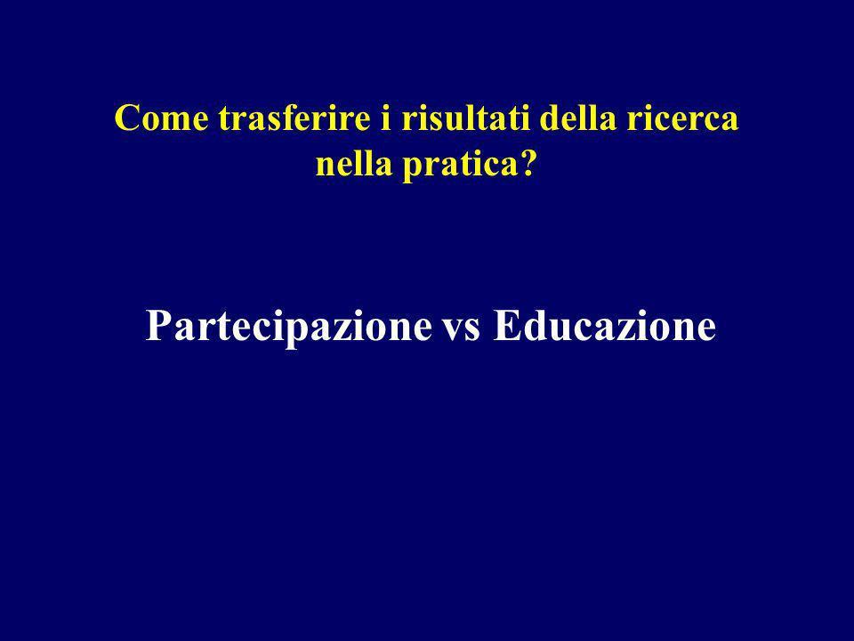 Come trasferire i risultati della ricerca nella pratica Partecipazione vs Educazione