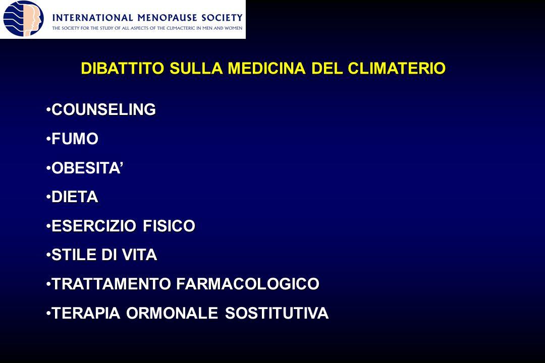 DIBATTITO SULLA MEDICINA DEL CLIMATERIO COUNSELINGCOUNSELING FUMO OBESITA DIETADIETA ESERCIZIO FISICOESERCIZIO FISICO STILE DI VITASTILE DI VITA TRATT
