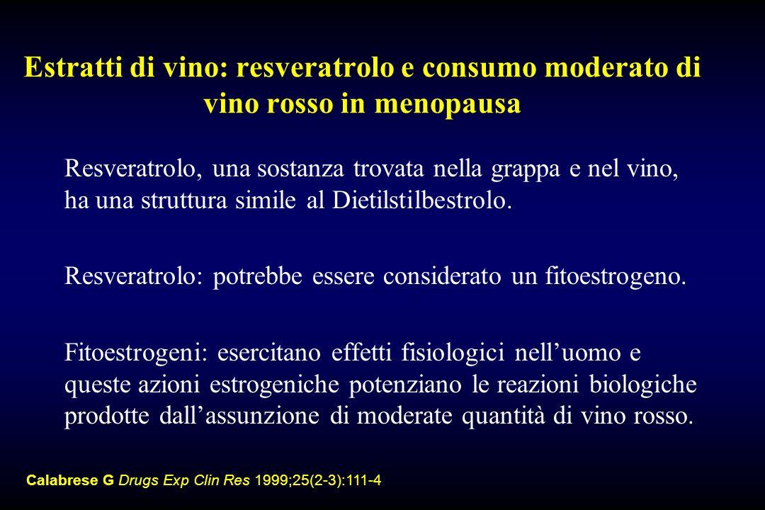 Estratti di vino: resveratrolo e consumo moderato di vino rosso in menopausa Resveratrolo, una sostanza trovata nella grappa e nel vino, ha una strutt