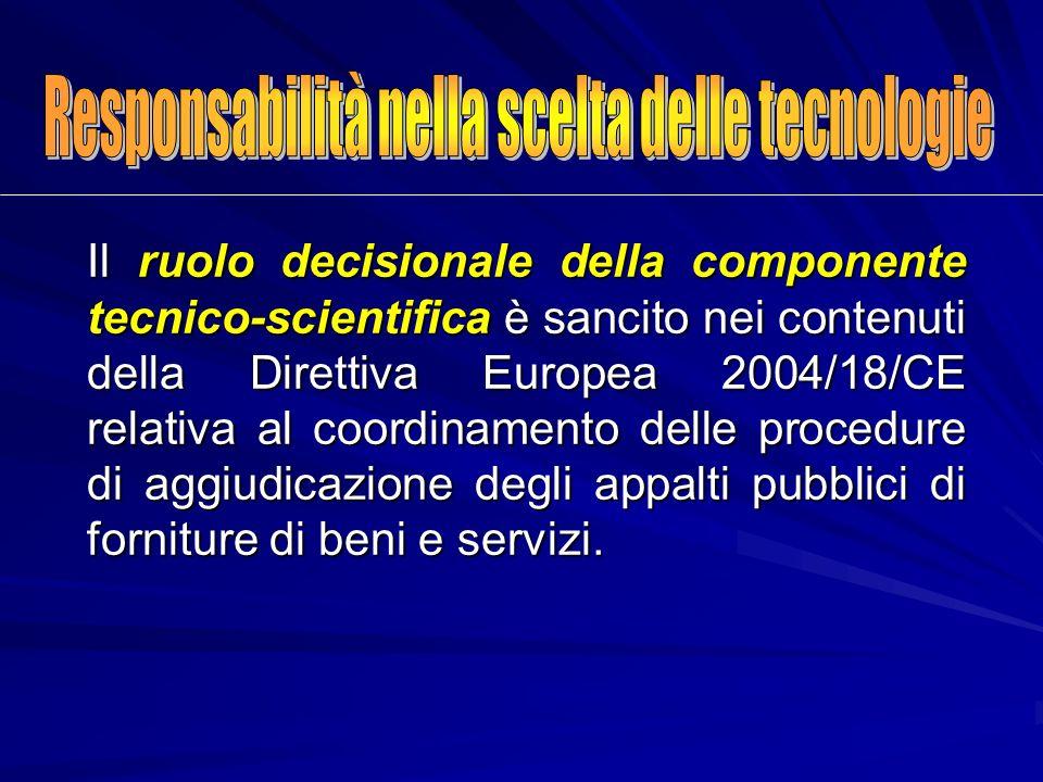 Il ruolo decisionale della componente tecnico-scientifica è sancito nei contenuti della Direttiva Europea 2004/18/CE relativa al coordinamento delle p