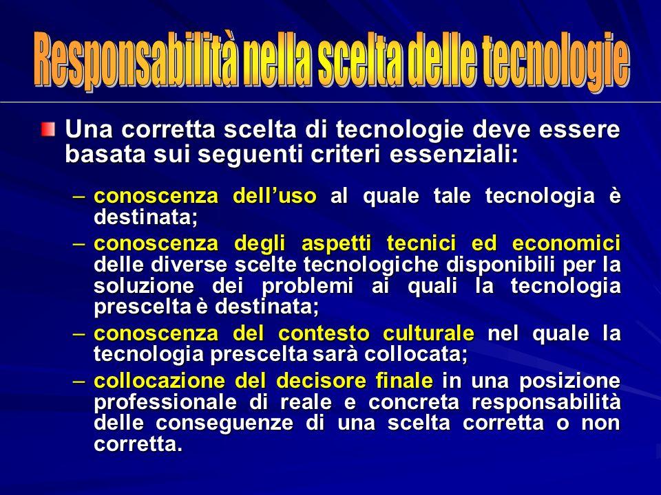 Una corretta scelta di tecnologie deve essere basata sui seguenti criteri essenziali: –conoscenza delluso al quale tale tecnologia è destinata; –conos