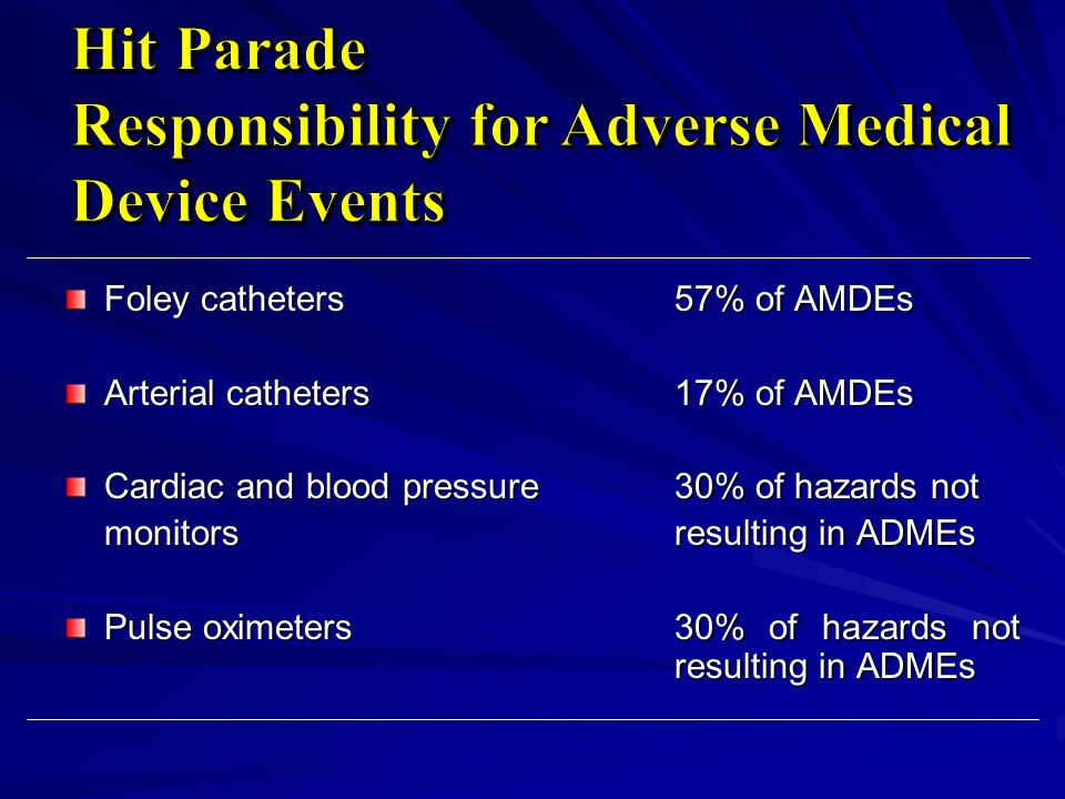 Foley catheters57% of AMDEs Arterial catheters17% of AMDEs Cardiac and blood pressure 30% of hazards not monitorsresulting in ADMEs Pulse oximeters30%