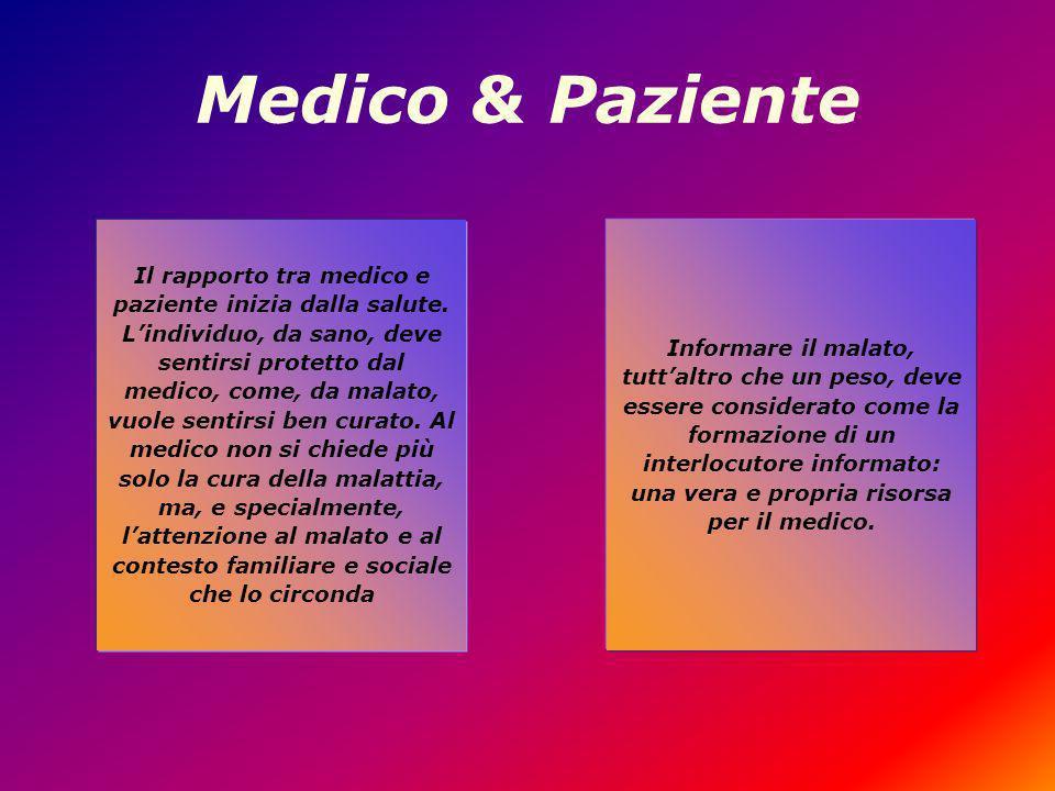 Medico & Paziente Il rapporto tra medico e paziente inizia dalla salute.