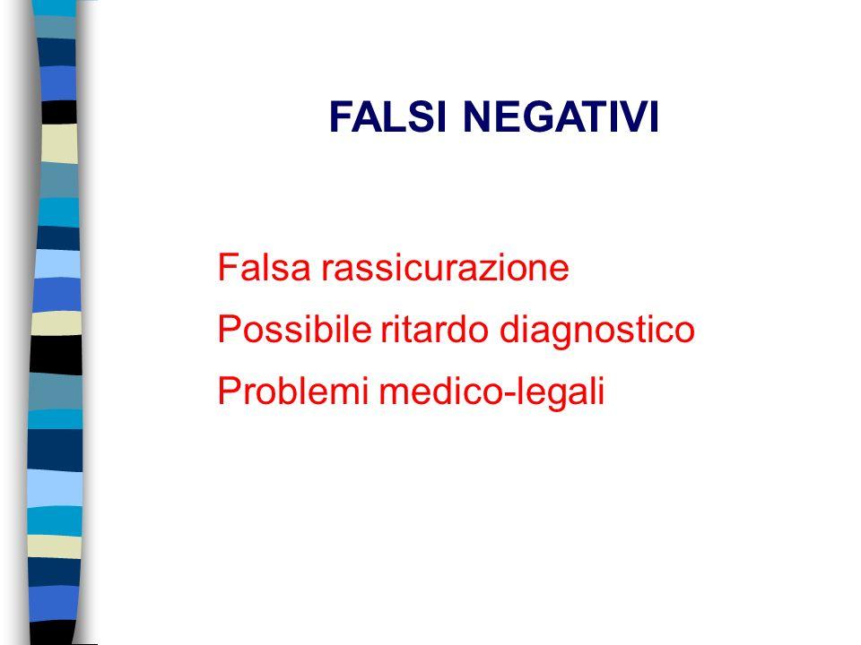 Falsa rassicurazione Possibile ritardo diagnostico Problemi medico-legali FALSI NEGATIVI