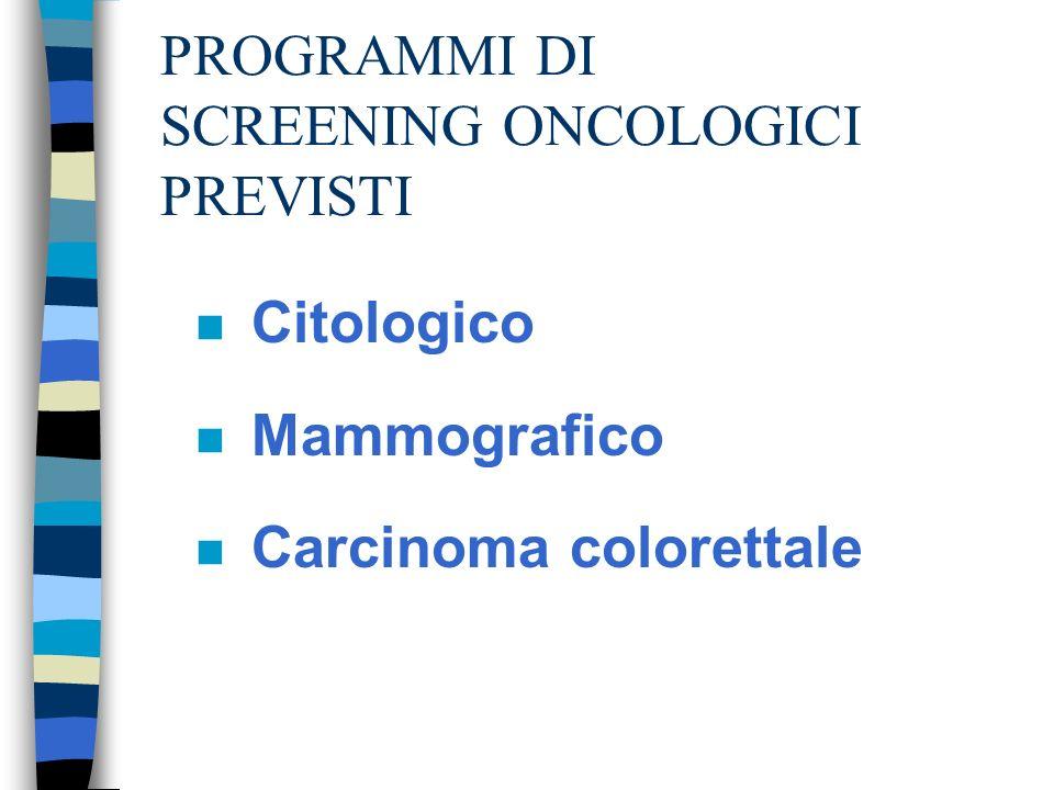 PROGRAMMI DI SCREENING ONCOLOGICI PREVISTI n Citologico n Mammografico n Carcinoma colorettale