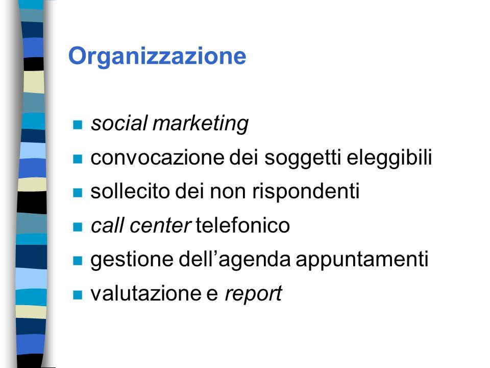 Organizzazione n social marketing n convocazione dei soggetti eleggibili n sollecito dei non rispondenti n call center telefonico n gestione dellagend