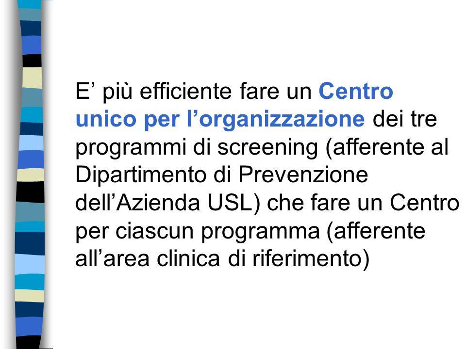 E più efficiente fare un Centro unico per lorganizzazione dei tre programmi di screening (afferente al Dipartimento di Prevenzione dellAzienda USL) che fare un Centro per ciascun programma (afferente allarea clinica di riferimento)
