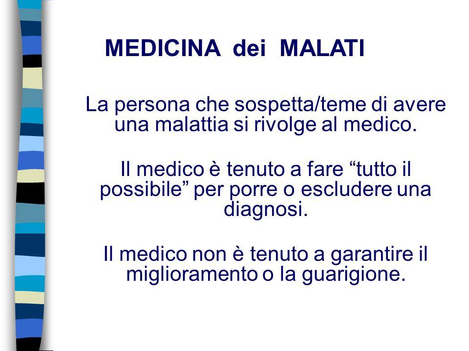 La persona che sospetta/teme di avere una malattia si rivolge al medico.