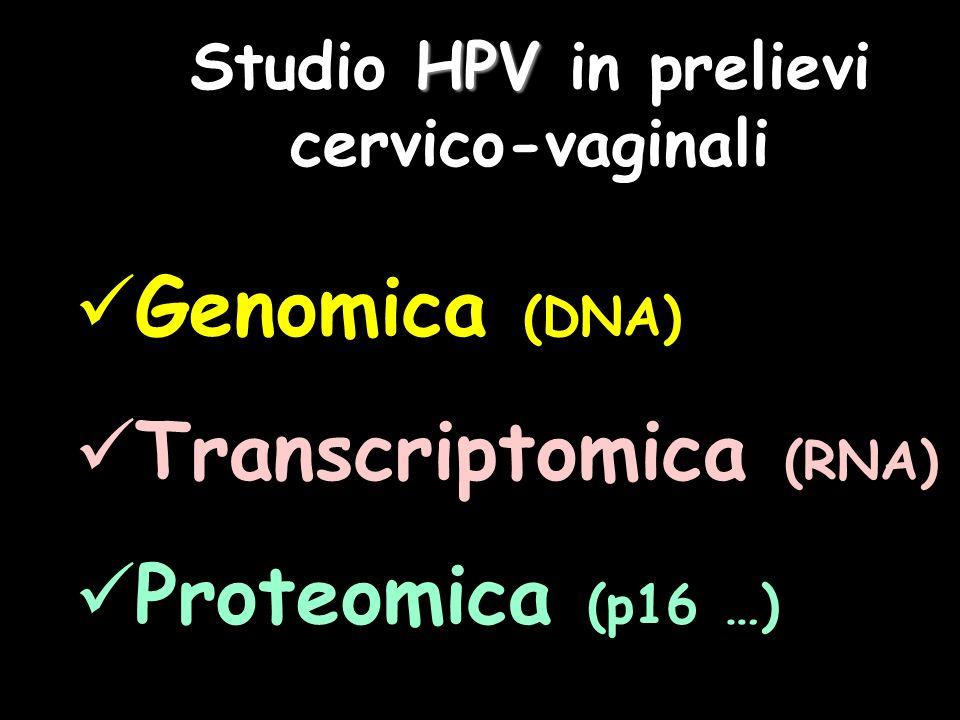 HPV Studio HPV in prelievi cervico-vaginali Genomica (DNA) Transcriptomica (RNA) Proteomica (p16 …)