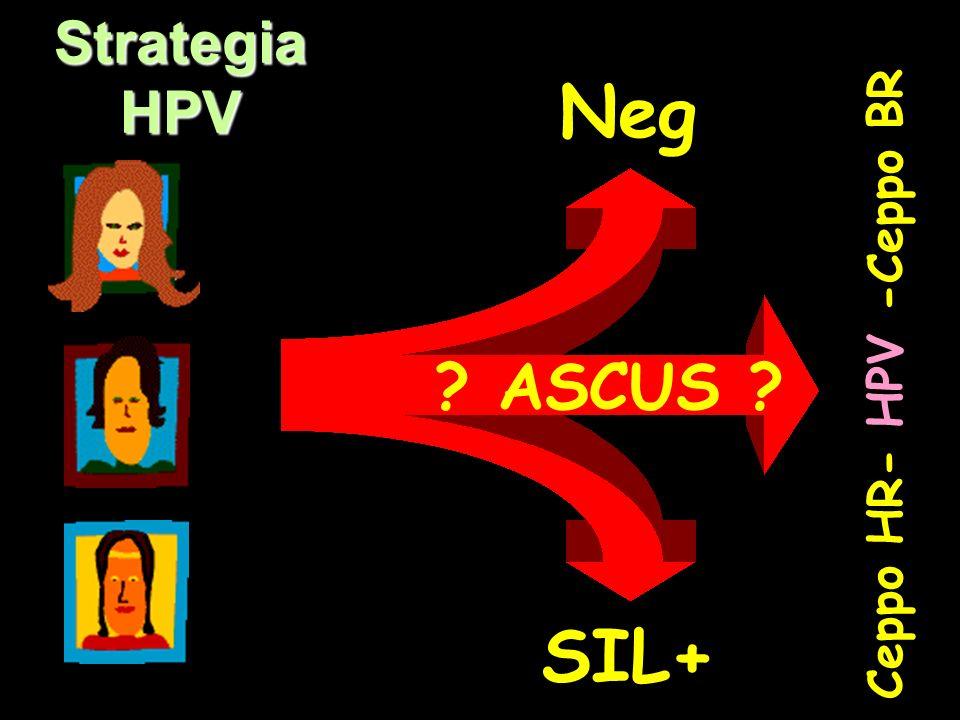 PapTest Strategia HPV Ceppo HR- HPV -Ceppo BR Neg SIL+ ? ASCUS ?