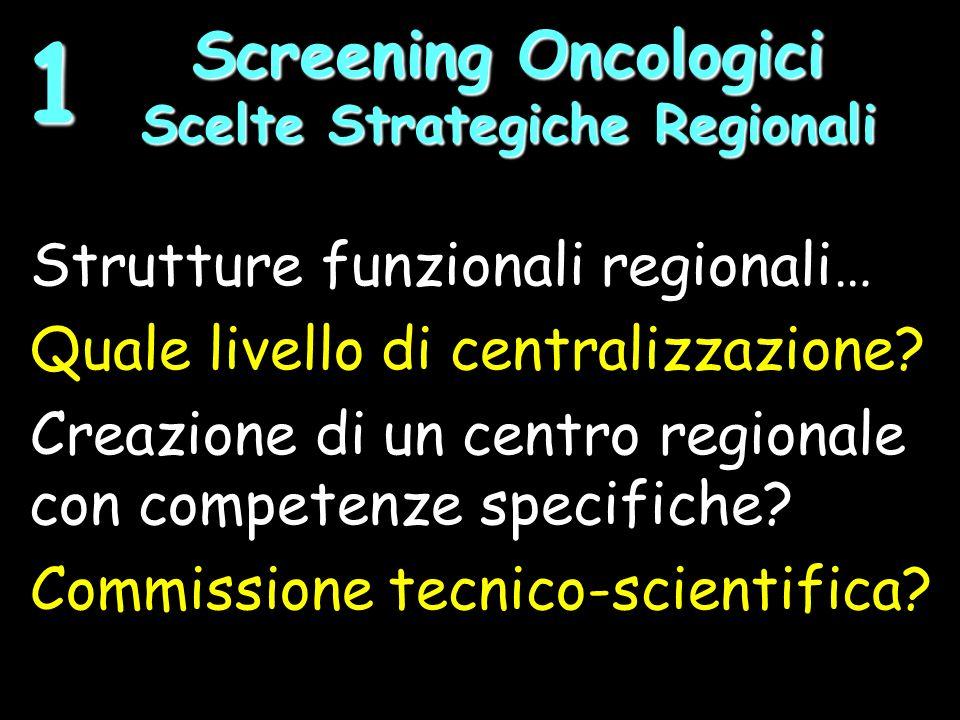 Strutture funzionali regionali… Quale livello di centralizzazione.