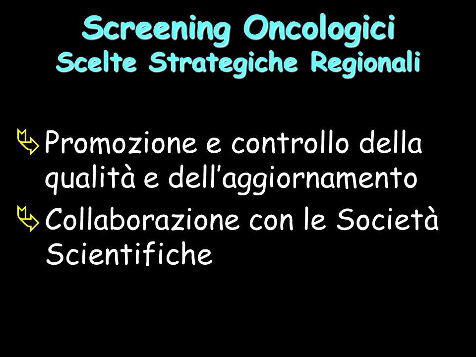 Promozione e controllo della qualità e dellaggiornamento Collaborazione con le Società Scientifiche Screening Oncologici Scelte Strategiche Regionali