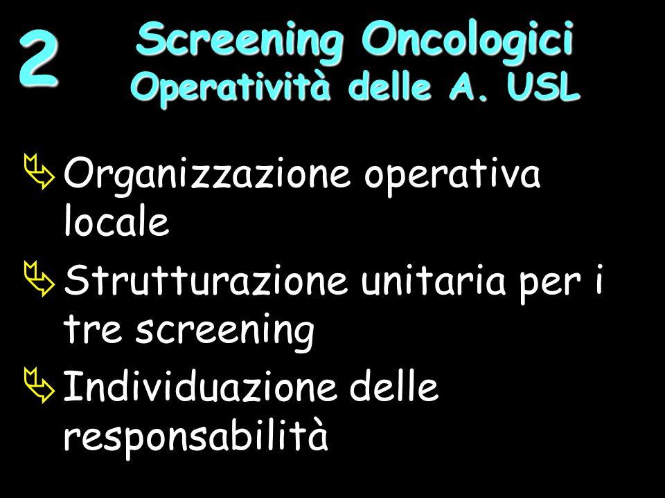 Organizzazione operativa locale Strutturazione unitaria per i tre screening Individuazione delle responsabilità Screening Oncologici Operatività delle A.
