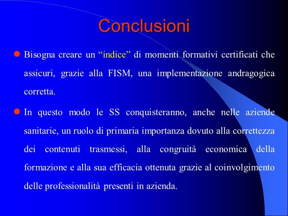 Conclusioni Bisogna creare un indice di momenti formativi certificati che assicuri, grazie alla FISM, una implementazione andragogica corretta.