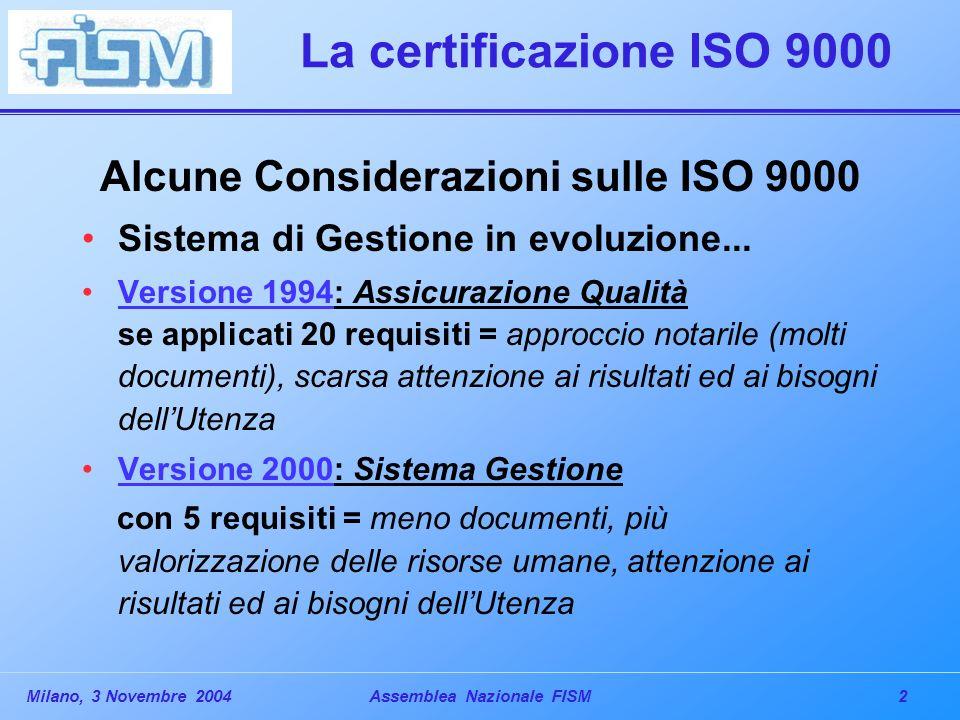 2Milano, 3 Novembre 2004Assemblea Nazionale FISM La certificazione ISO 9000 Alcune Considerazioni sulle ISO 9000 Sistema di Gestione in evoluzione...