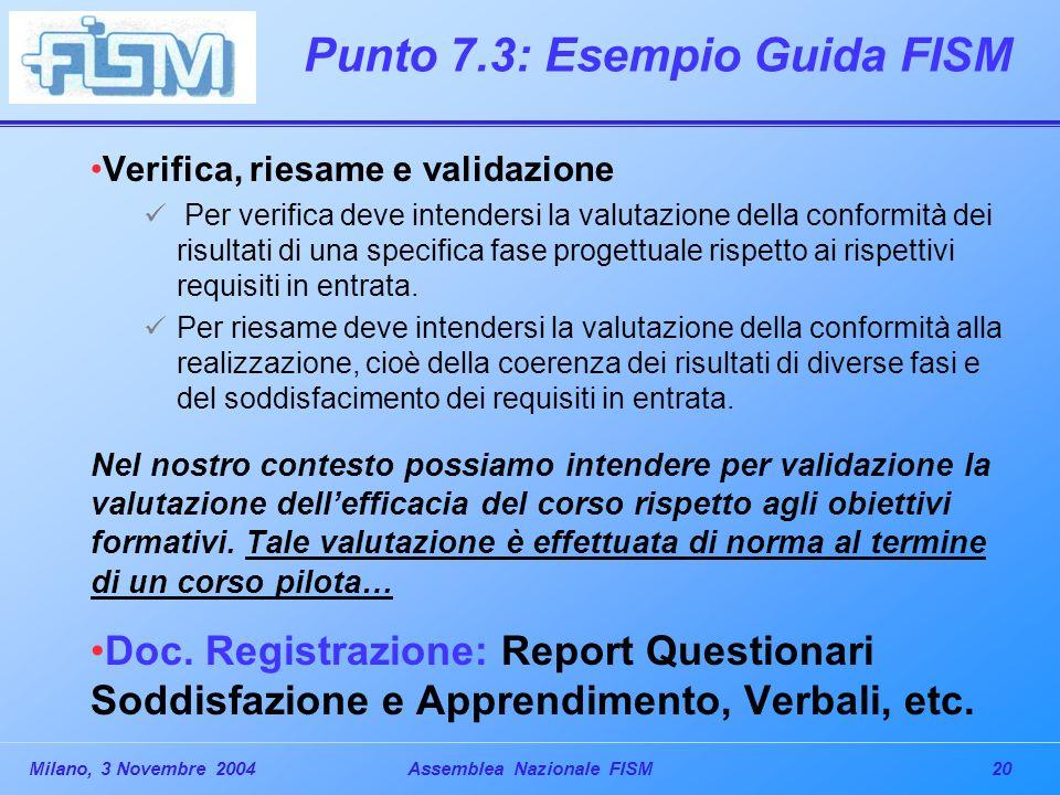 20Milano, 3 Novembre 2004Assemblea Nazionale FISM Punto 7.3: Esempio Guida FISM Verifica, riesame e validazione Per verifica deve intendersi la valutazione della conformità dei risultati di una specifica fase progettuale rispetto ai rispettivi requisiti in entrata.
