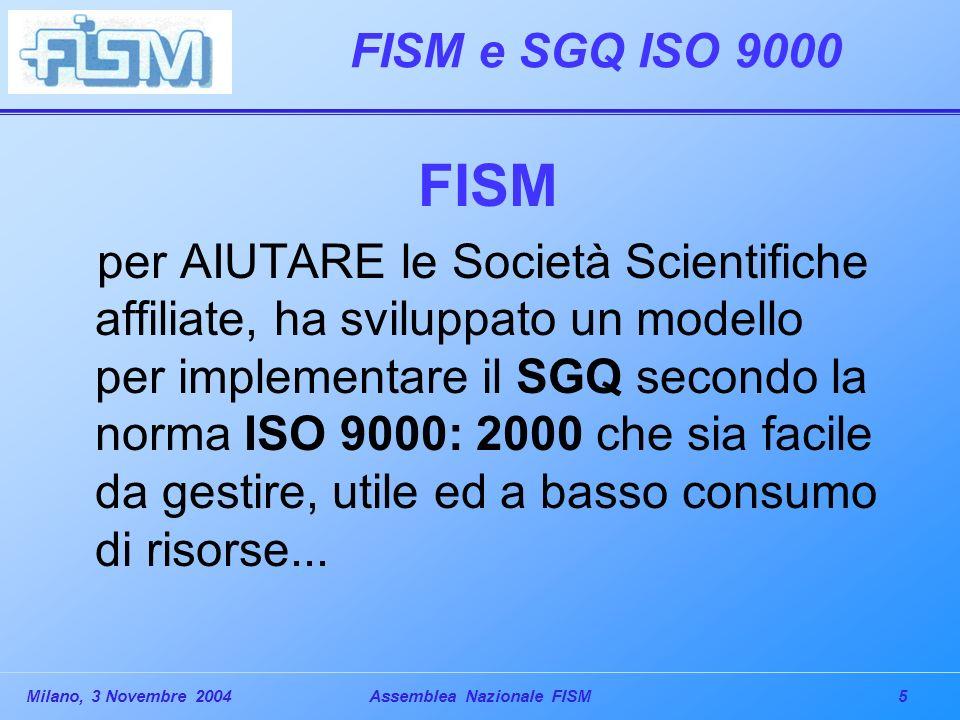 5Milano, 3 Novembre 2004Assemblea Nazionale FISM FISM e SGQ ISO 9000 FISM per AIUTARE le Società Scientifiche affiliate, ha sviluppato un modello per implementare il SGQ secondo la norma ISO 9000: 2000 che sia facile da gestire, utile ed a basso consumo di risorse...