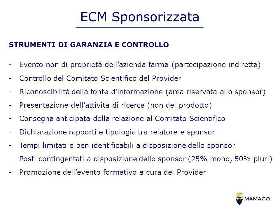 ECM Sponsorizzata STRUMENTI DI GARANZIA E CONTROLLO -Evento non di proprietà dellazienda farma (partecipazione indiretta) -Controllo del Comitato Scie