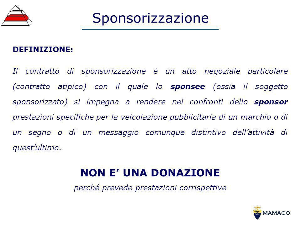 Sponsorizzazione DEFINIZIONE: Il contratto di sponsorizzazione è un atto negoziale particolare (contratto atipico) con il quale lo sponsee (ossia il s
