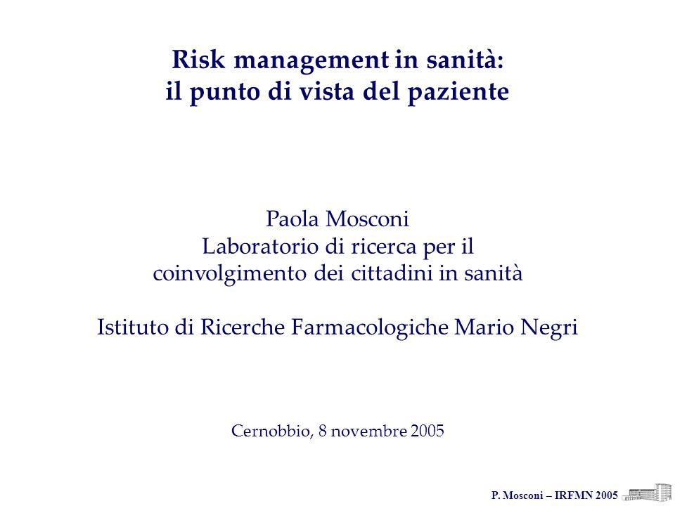 P. Mosconi – IRFMN 2005 Risk management in sanità: il punto di vista del paziente Paola Mosconi Laboratorio di ricerca per il coinvolgimento dei citta