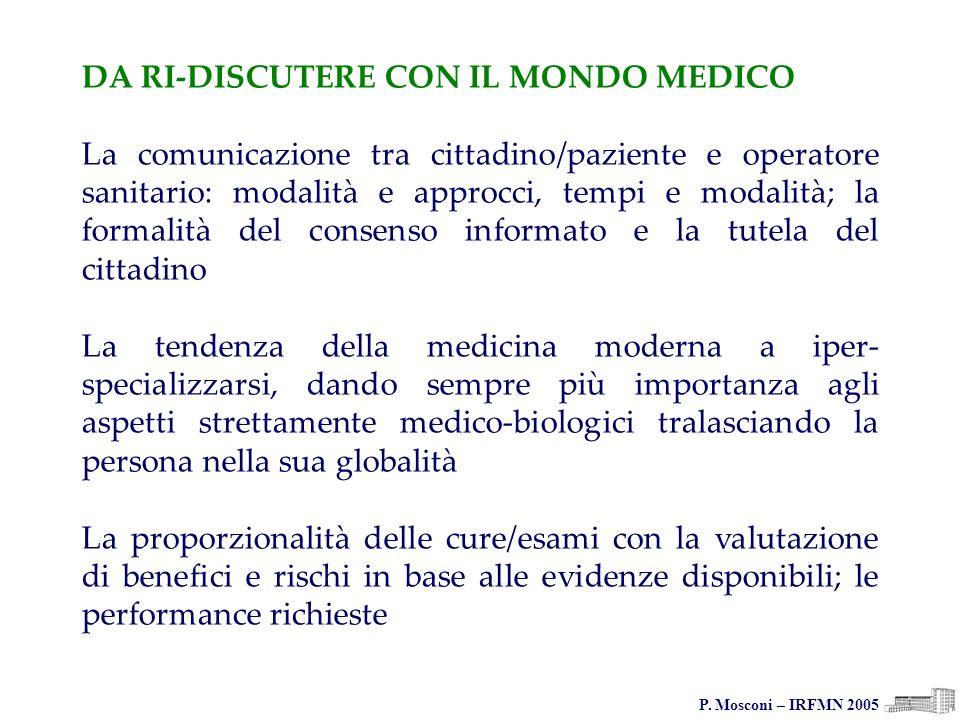 P. Mosconi – IRFMN 2005 DA RI-DISCUTERE CON IL MONDO MEDICO La comunicazione tra cittadino/paziente e operatore sanitario: modalità e approcci, tempi