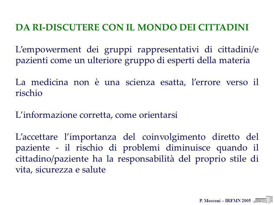 P. Mosconi – IRFMN 2005 DA RI-DISCUTERE CON IL MONDO DEI CITTADINI Lempowerment dei gruppi rappresentativi di cittadini/e pazienti come un ulteriore g