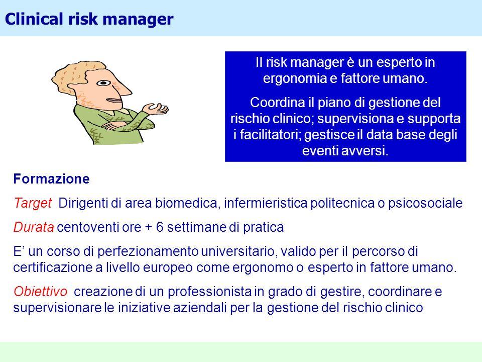Clinical risk manager Formazione Target Dirigenti di area biomedica, infermieristica politecnica o psicosociale Durata centoventi ore + 6 settimane di